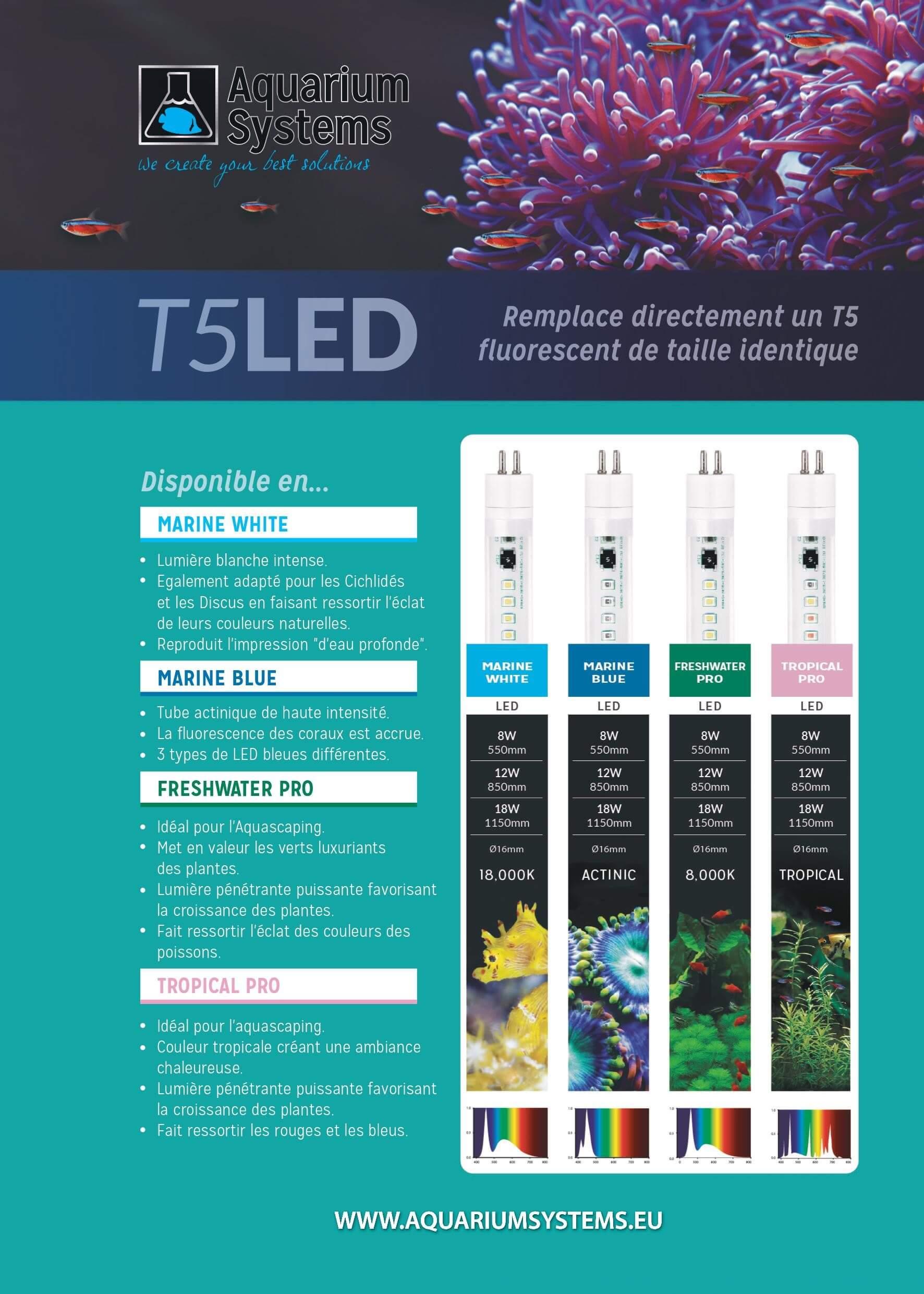 Gamme complète de tubes T5 LED économiques en consommation électrique et efficaces pour votre aquarium