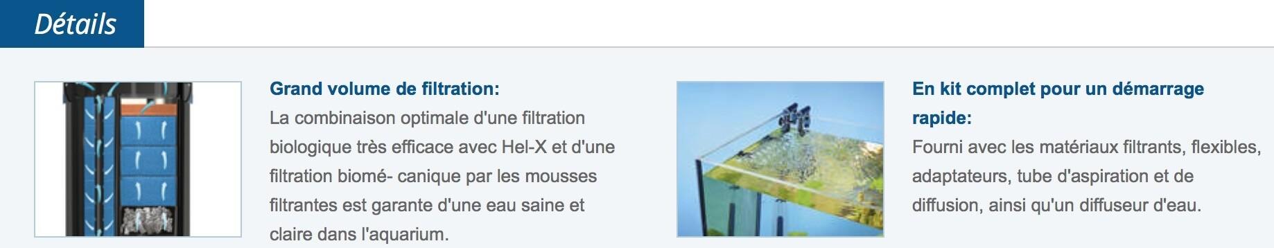 Détail de ce filtre extérieur pour aquarium
