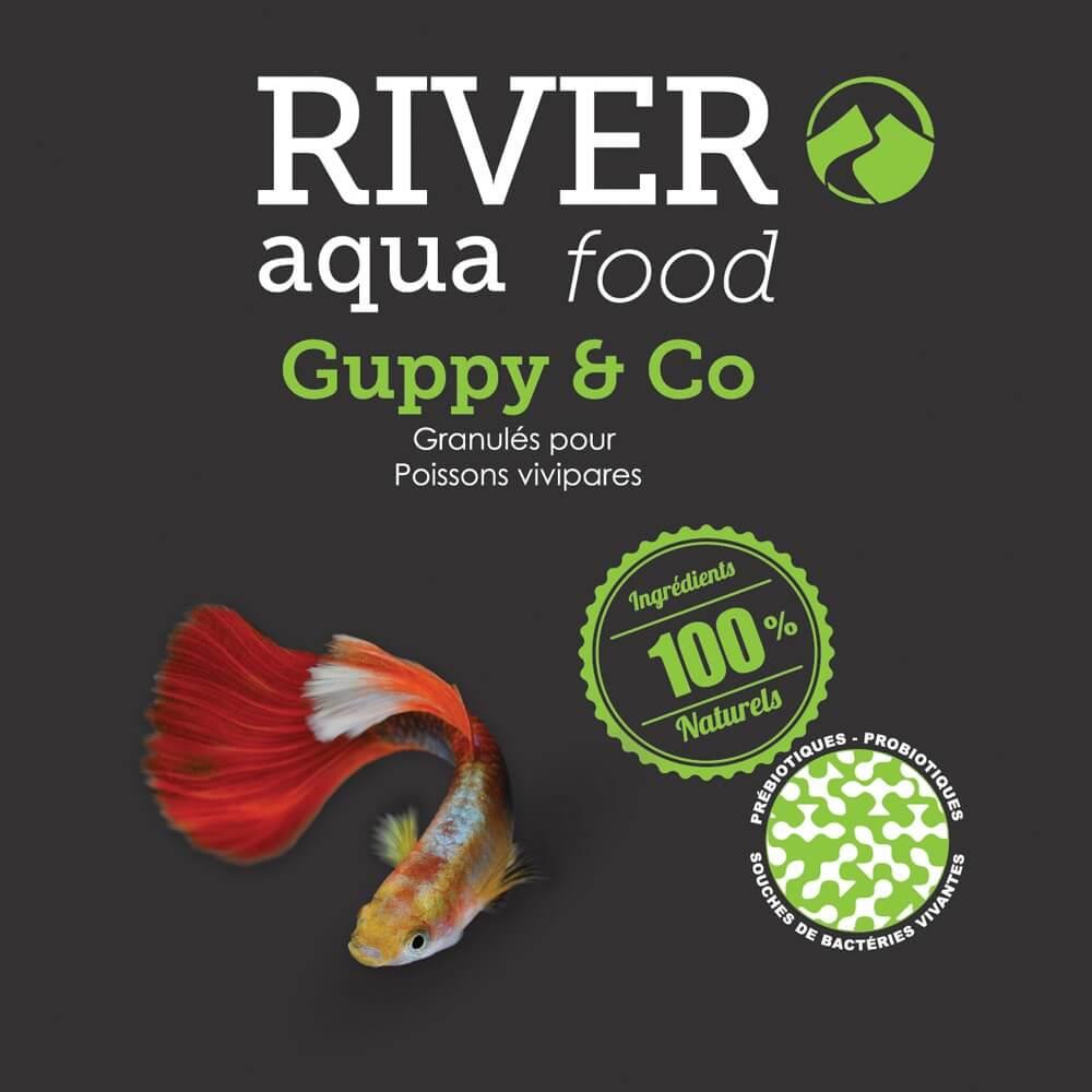 Aliment en granulés fin semi-flottant conçu pour l'alimentation des Guppys et autres types de vivipares.