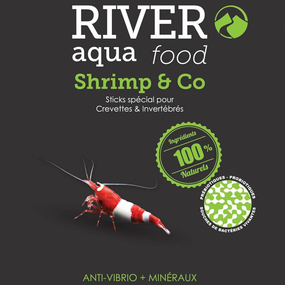 Aliment en sticks coulants pour les crevettes et les écrevisses d'eau douce.