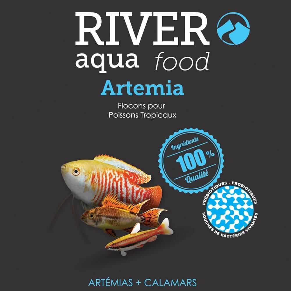 Aliment en flocons riche en artémias pour renforcer les couleurs des poissons tropicaux.