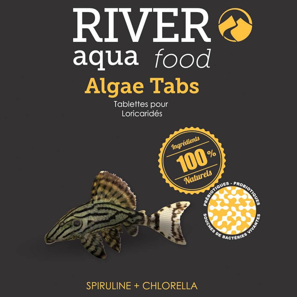 Aliment en tablettes enrichis en algues (spiruline, chlorella), adapté aux besoins des poissons de fond végétariens (otocinclus, loricariidés, etc...).