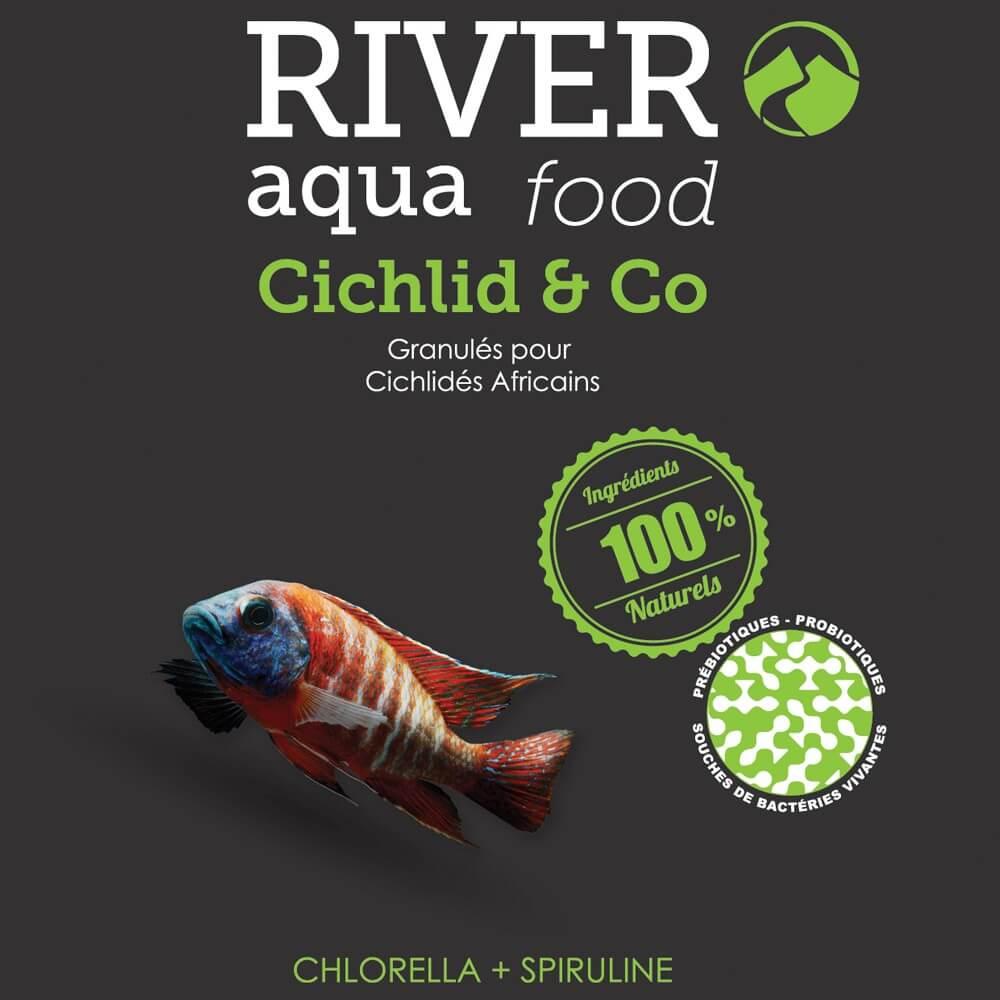 Aliment en granulés semi-flottants enrichis en algues (spiruline, chlorella), adapté aux besoins des poissons tropicaux végétariens (cichlidés africains, vivipares, etc...).